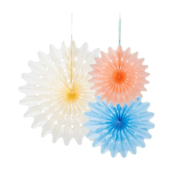 Papírové dekorace Fan Oasis, 3 kusy