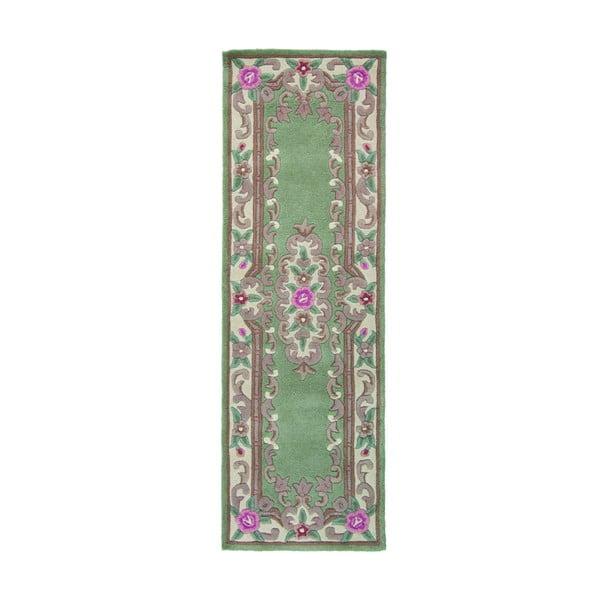 Zelený vlněný koberec Flair Rugs Aubusson, 67x210cm