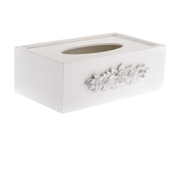 Bílá dřevěná krabička na kapesníky Dakls Romance