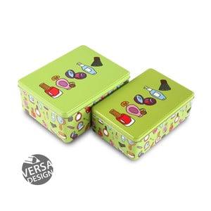 Sada 2 zelených kovových krabic na kosmetiku Versa