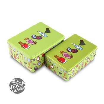 Set 2 cutii din metal pentru cosmetice Versa, verde de la Versa