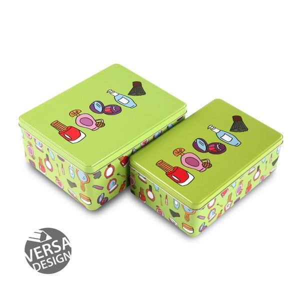 Set 2 cutii din metal pentru cosmetice Versa, verde