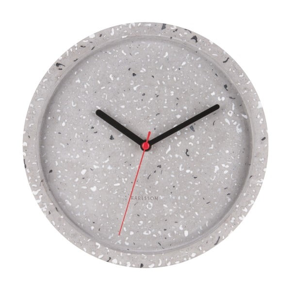Šedé nástěnné hodiny Karlsson Tom, ⌀26 cm