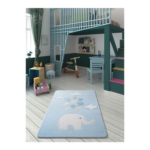 Covor pentru copii Confetti Sweet Elephant, 100 x 150 cm, albastru deschis
