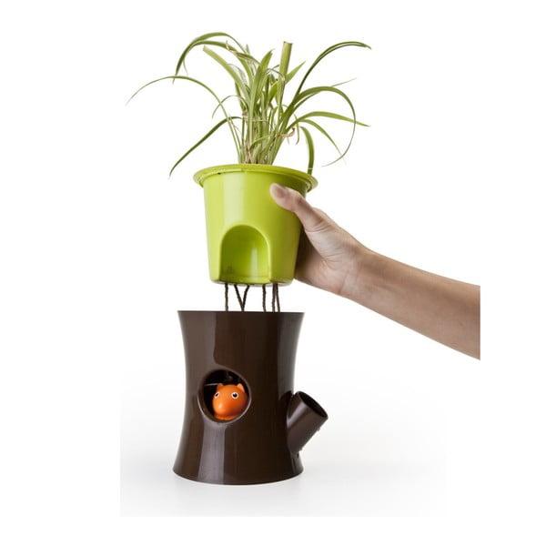 Samozavlažovací květináč Log & Squirrel, hnědá/zelená