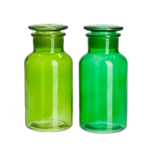 Sada 2ks dóz Glass Green, 8x8x18 cm