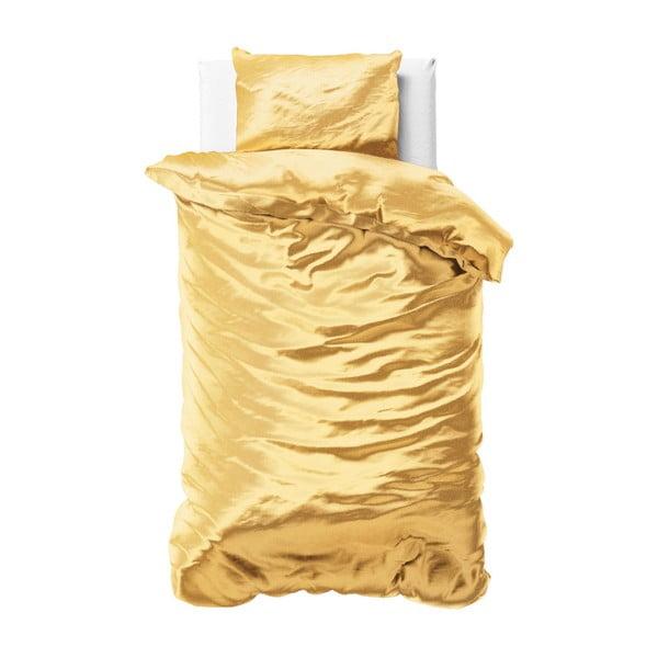 Żółta jednoosobowa pościel z satynowego mikroperkalu Sleeptime, 140x220 cm