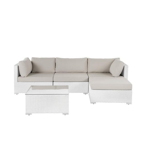 Set bílého zahradního nábytku z umělého ratanu Monobeli Neapolis