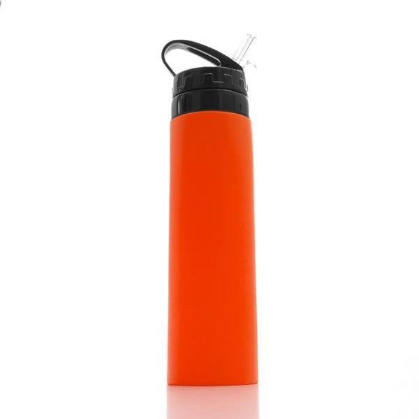 Oranžová silikonová sportovní lahev InnovaGoods Hidralyne