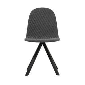 Scaun cu picioare negre Iker Mannequin Stripe, gri închis