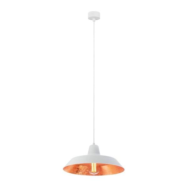 Biele stropné svietidlo s vnútrajškom v medenej farbe Bulb Attack Cinco