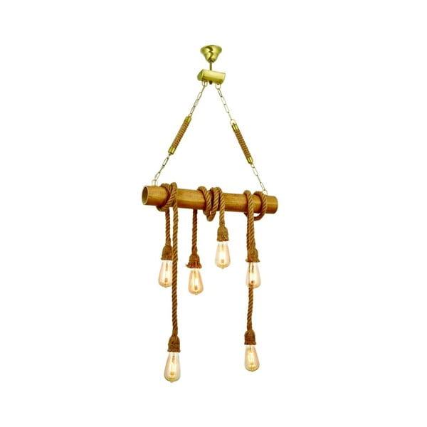 Lampa wisząca z drewna grabu Bambu 6lı