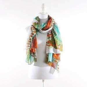 Šátek, oranžovozelený s květy