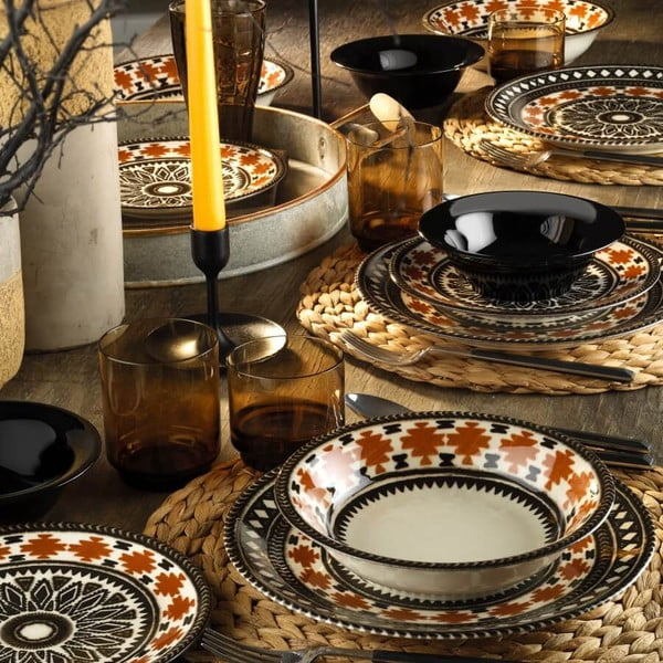 24-częściowy zestaw talerzy porcelanowych Kutahya Pafio