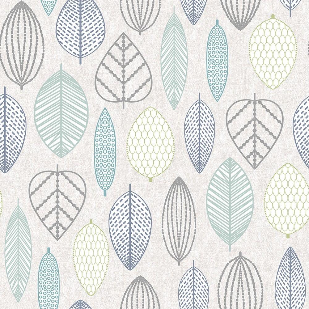 Krémová nástěnná tapeta Graham & Brown Scandi Leaf Blue, 0,52x10m
