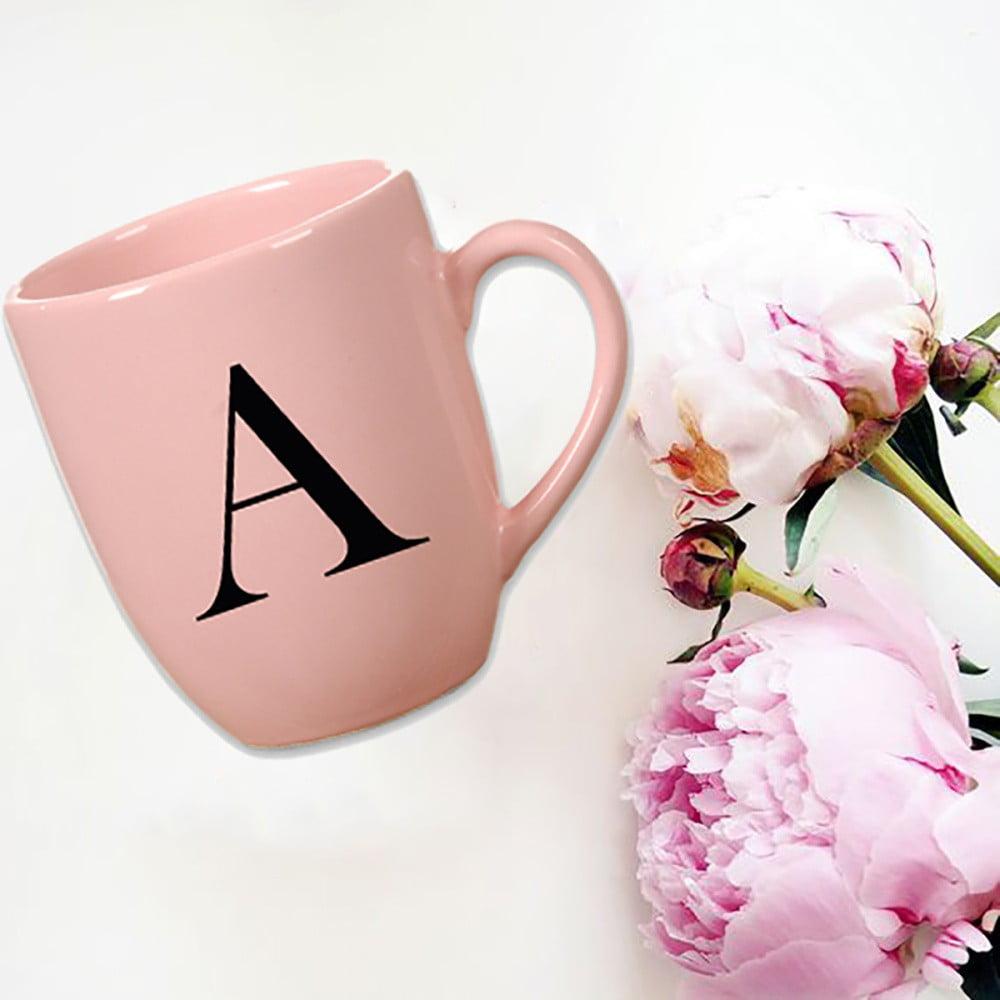 Růžový keramický hrneček Vivas Letter A, 330ml