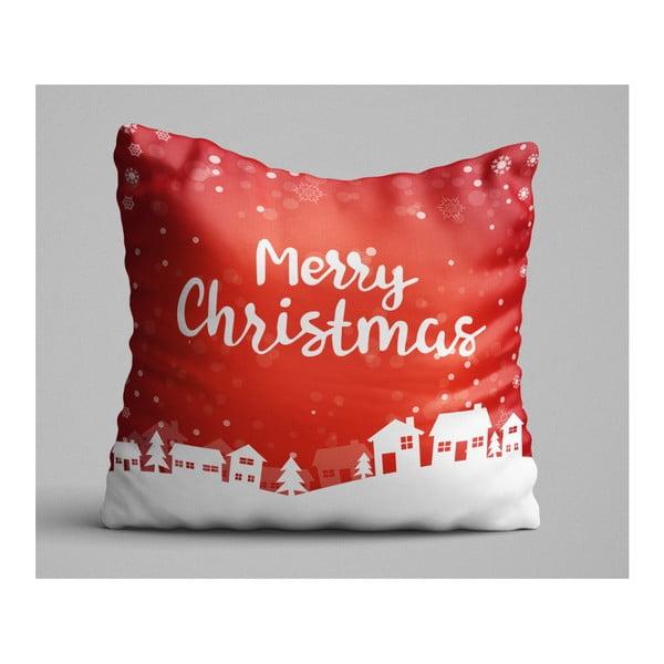 Christmas Village piros párna, 45 x 45 cm