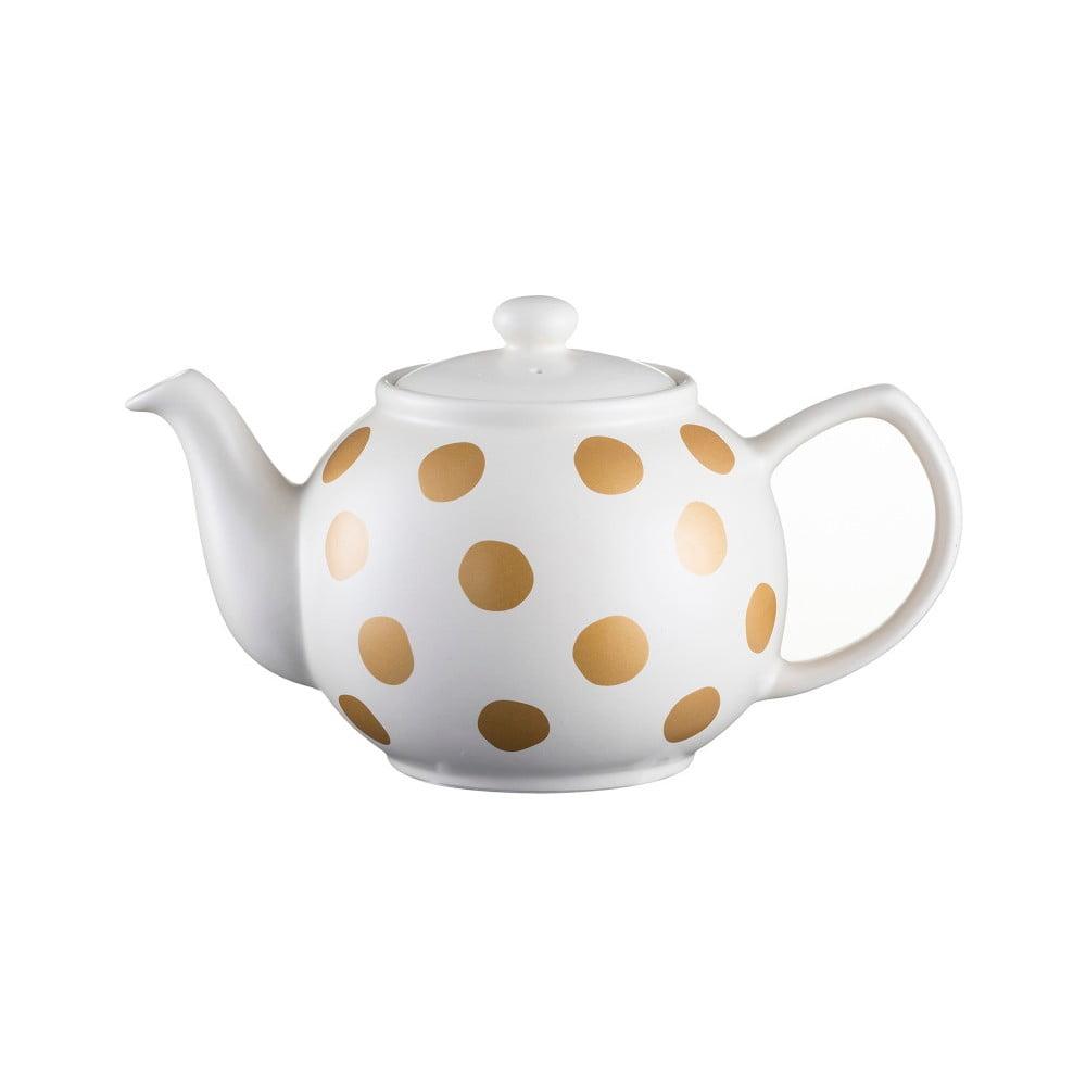 Krémová čajová konvice s puntíky z kameniny Price & Kensington Gold Spot,1,2l