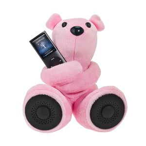 Méďa Hi-George s vestavěným reproduktorem, růžový