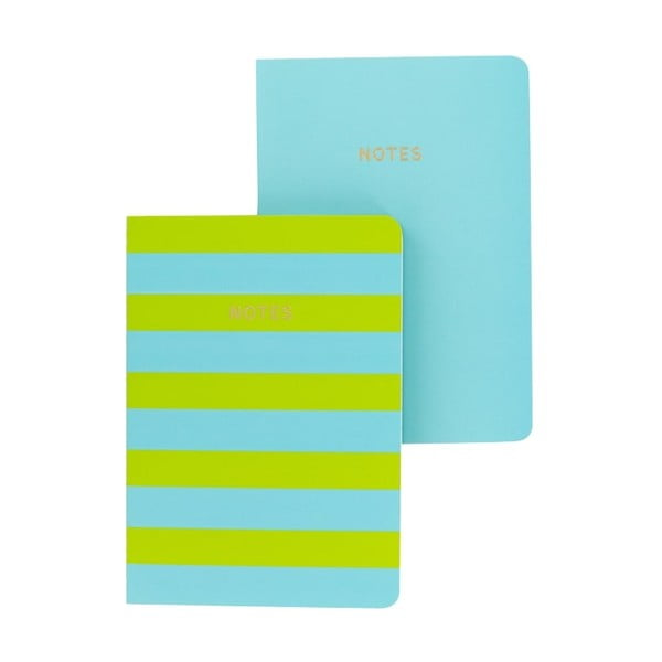 Set 2 caiete A6 GO Stationery Lime Stripe, albastru - verde