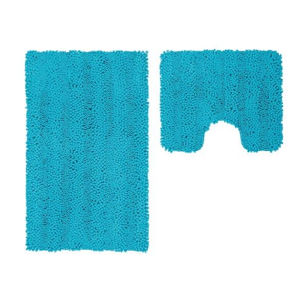 Sada 2 koupelnových předložek s výkrojem Surface Turquoise