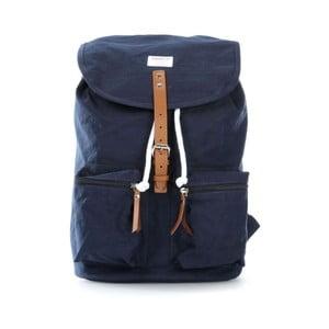 Tmavě modrý batoh s koženými detaily Sandqvist Roald