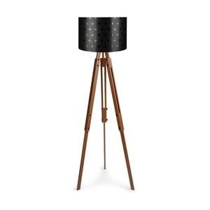 Volně stojící lampa s černým stínítkem Homitis Retro