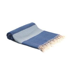 Modrá ručně tkaná osuška Ivy's Asli, 95x180cm