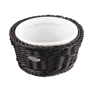 Porcelánová servírovací miska v košíku Korb Round, tmavá