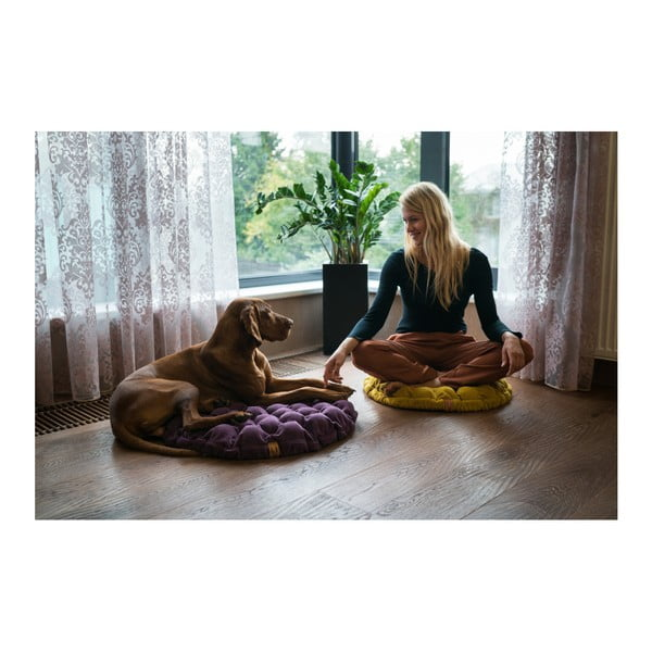 Pernă relaxare cu bile de masaj Linda Vrňáková Bloom, Ø 75 cm, bej închis