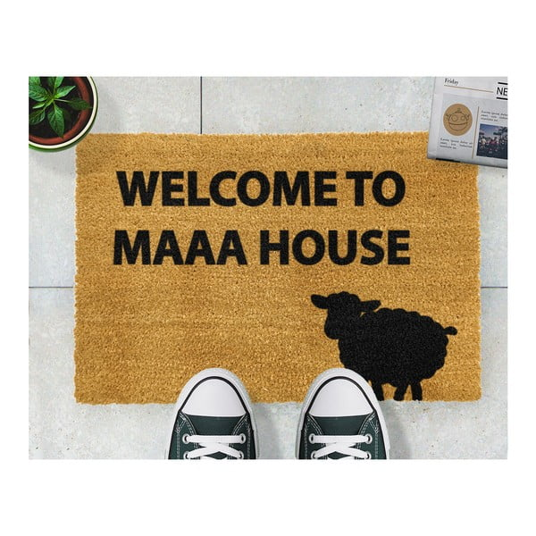 Covoraș intrare din fibre de cocos Artsy Doormats Welcome to Maaa House, 40 x 60 cm