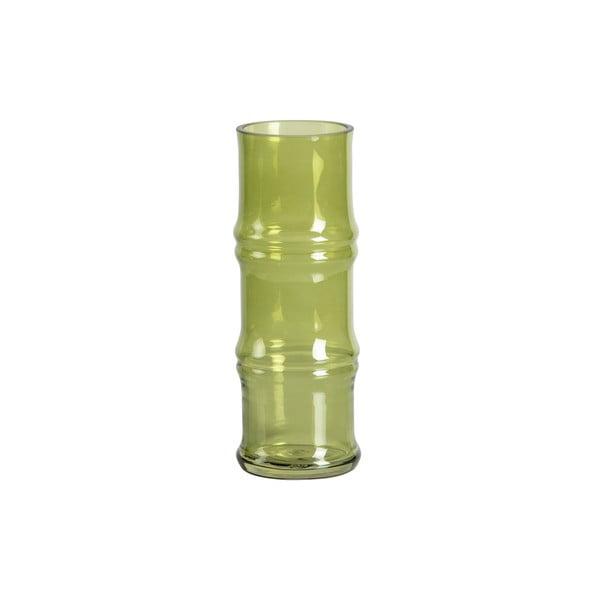 Zelená sklenená váza WOOOD Kane, výška 25 cm