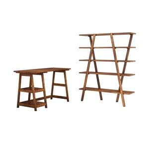 Pracovní stůl spolicí zborovicového dřeva Perla Walnut