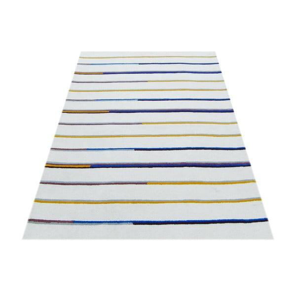 Ručně tuftovaný béžový koberec Bakero Stripe, 153x244cm