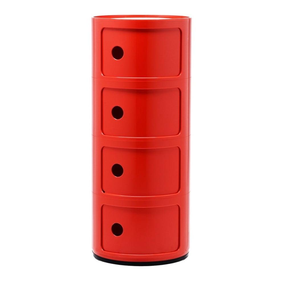 Červený kontejner se 4 zásuvkami Kartell Componibili