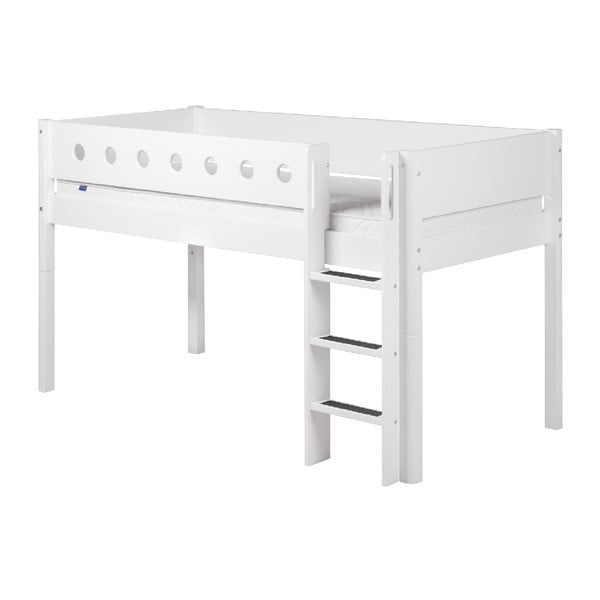 Bílá středně vysoká dětská postel s žebříkem Flexa White Single, 90x200cm