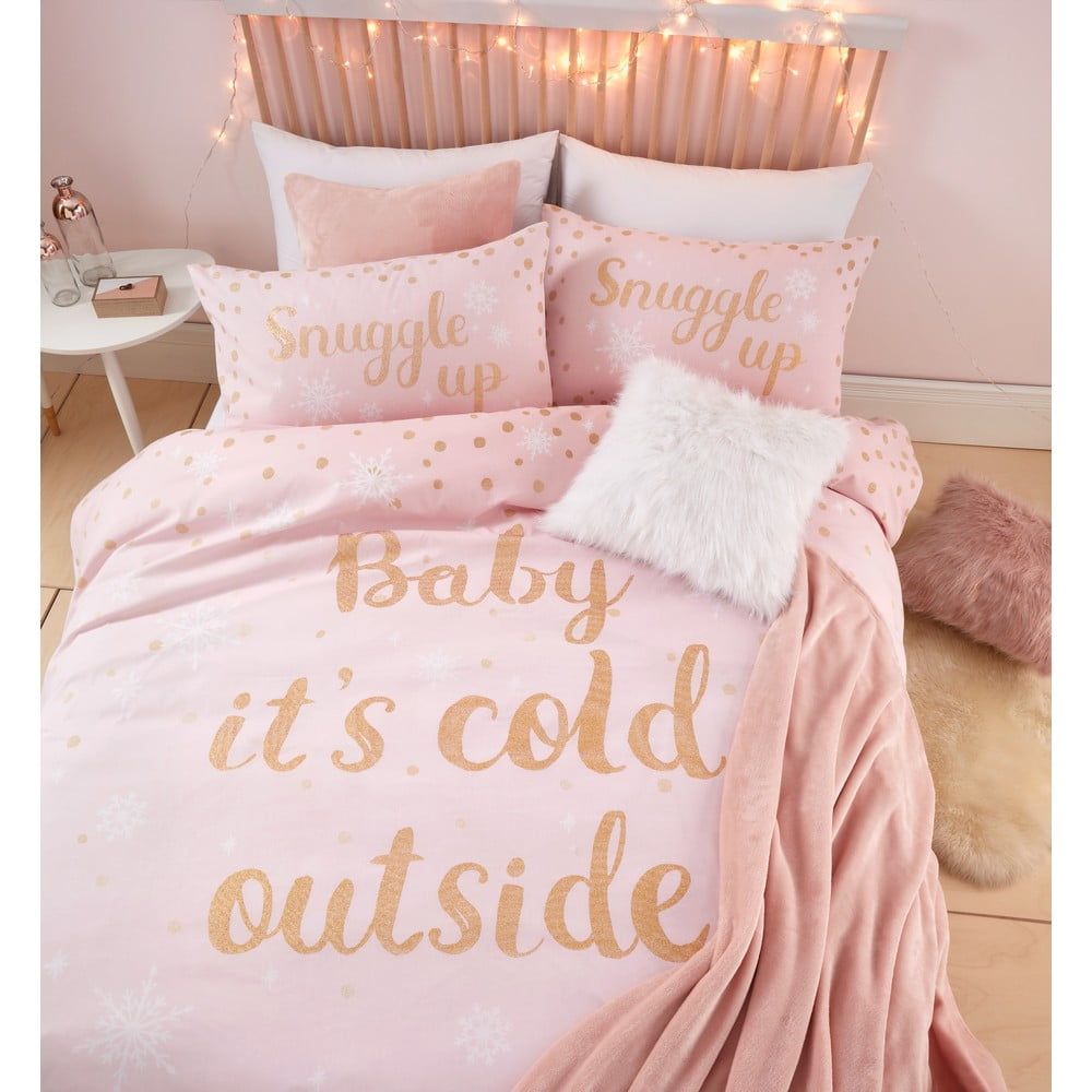 """Růžové povlečení s potiskem """"Baby It's Cold Outside"""" Catherine Lansfield, 135 x 200 cm"""