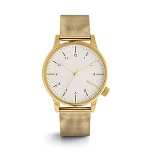 Pánské hodinky s kovovým páskem ve zlaté barvě a bílým ciferníkem Komono Royale