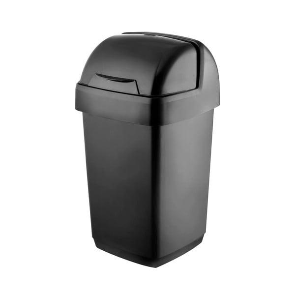 Černý odpadkový koš Addis Roll Top, 22,5 x 23 x 42,5 cm