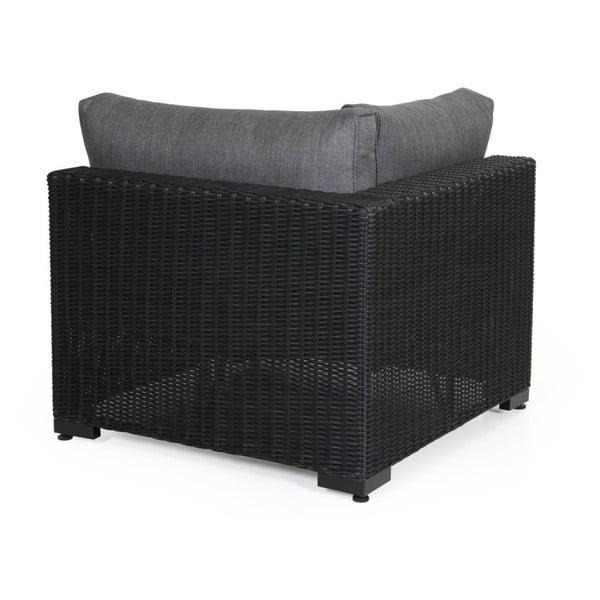 Rohový díl černé zahradní sedačky Brafab Ninja