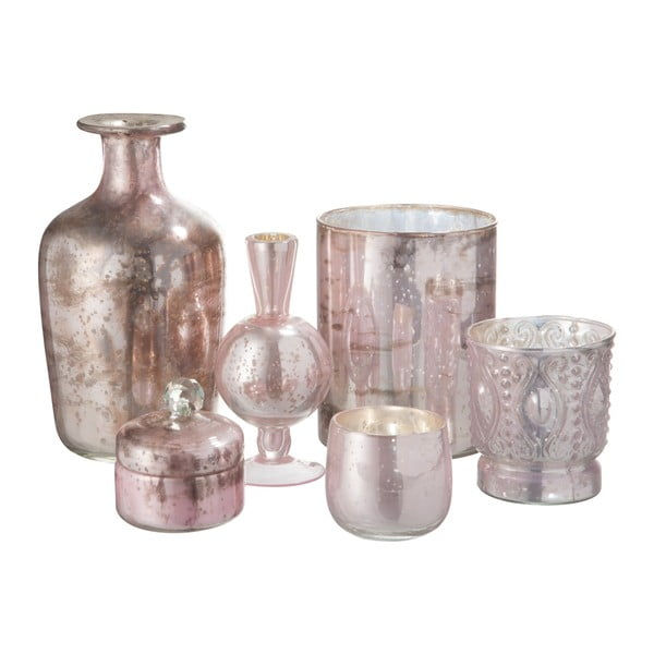 Růžová skleněná váza J-Line Nacre, výška 22 cm