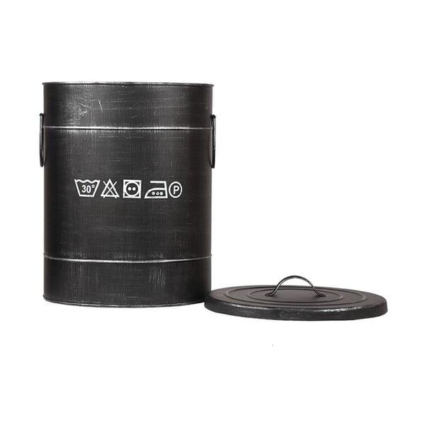 Černý kovový koš na špinavé prádlo LABEL51, ⌀32cm