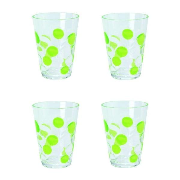 Sada zelených sklenic 250 ml, 4 ks