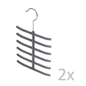 Sada 2 šedých věšáků na kravaty Bonita Velvet Hangers