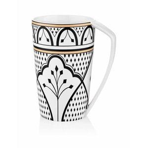 Černobílý hrnek z kostního porcelánu The Mia Maroc Meknes, 500ml