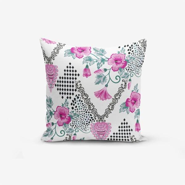 Față de pernă cu amestec din bumbac Minimalist Cushion Covers Kare With Points Heart Kolye, 45 x 45 cm