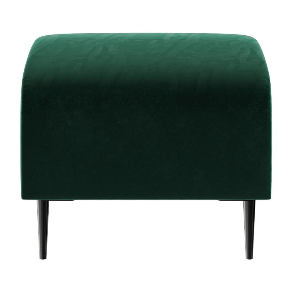 Tmavě zelený sametový puf Ghado Shel