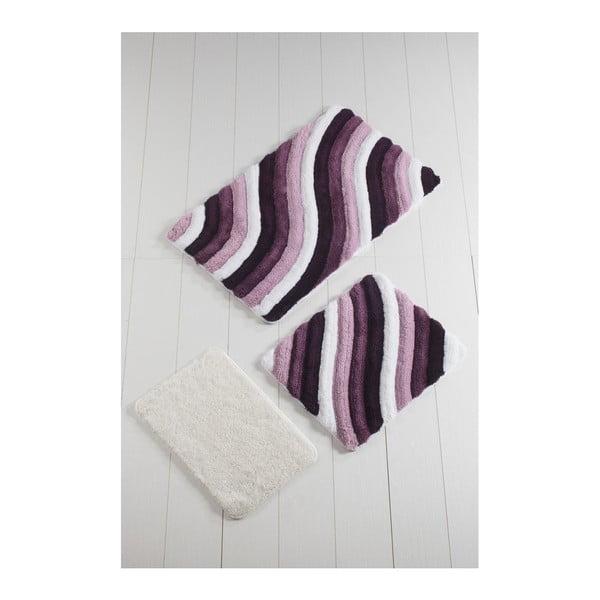 Komplet 3 fioletowych dywaników łazienkowych Colorful