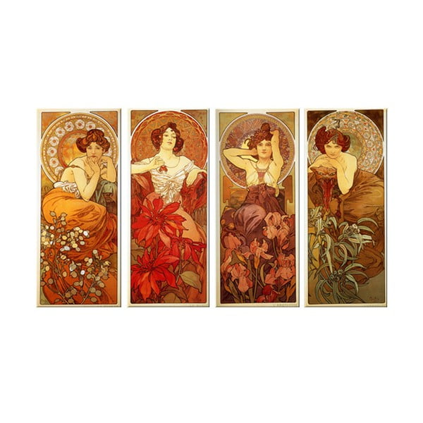 Sada 4 obrazů The Precious Stone od Alfonse Muchy, 40x90 cm