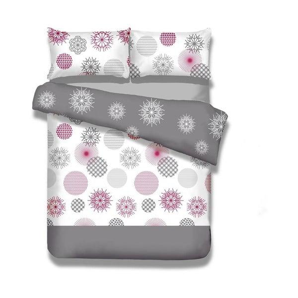 Predĺžené flanelové obliečky na dvojlôžko DecoKing Flakes, 200 × 220 cm + 70 × 90 cm
